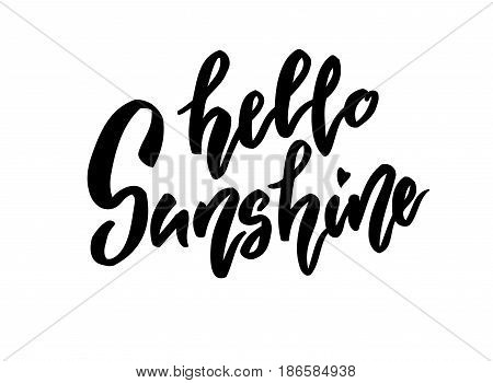 Hello sunshihe lettering. Family photography overlay. Baby photo album element. Hand drawn blue nursery design. handwritten brush pen calligraphy isolated. Vector illustration stock vector.