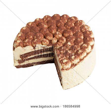 Cake tiramisu isolated on white background