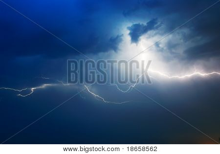 Lightning in dark sky. Composition of nature.