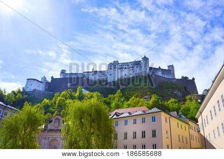 Hohensalzburg Fortress at Salzburg at Austria at sunny day