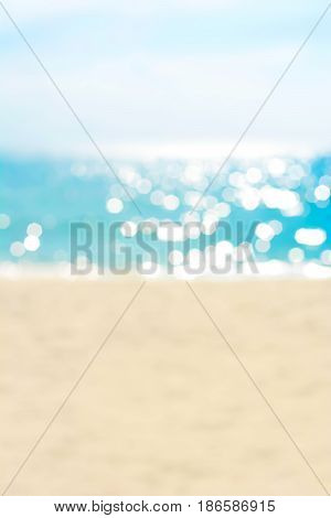 Blur summer white sand beach for background