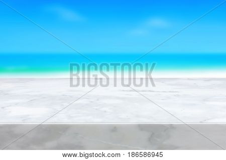 White marble stone countertop on blur blue sea and sky background - can be used for display or montage your products