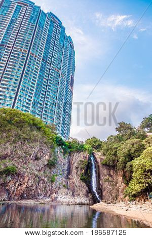 Residential skyscraper above the waterfall, Hong Kong