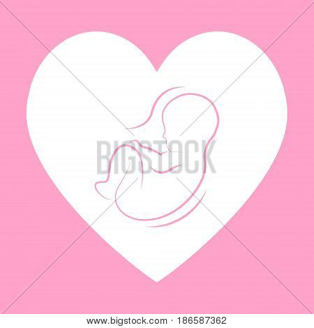 Baby is in the womb. Symbol of love and care for the child. Childbirth, Maternity and child care. Vector illustration.
