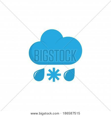 Rain-Snow Flat Icon Symbol. Premium Quality Isolated Drizzles Element In Trendy Style.