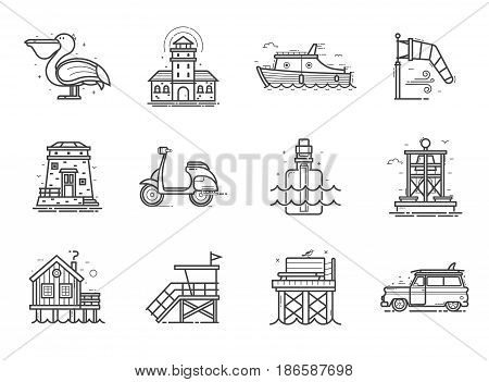 Travel sea side icon set. Summer sea vacation collection with typical seaside town or fishing village elements in line art. Including scooter, surfing car, message bottle, lighthouse, boat and more.