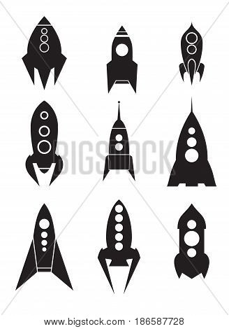 Set of spacecraft icons. Silhouettes of spaceships. Vector element for your design