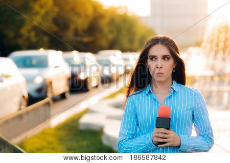 Surprised Female Reporter on Field in Traffic