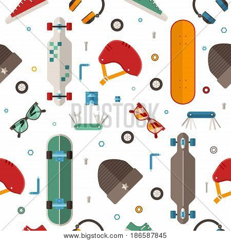 Skateboard pattern with equipment and accessories in flat design. Urban lifestyle and skateboarding seamless background with skate board gear and tools.