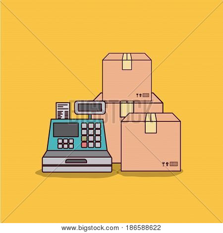 yellow background with cash register and packages vector illustration
