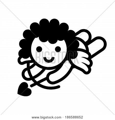 Cupid. Black icon isolated on white background