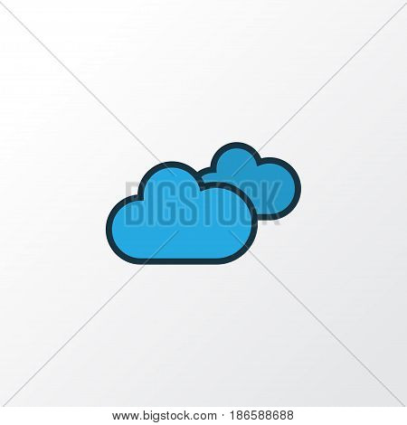 Cloudy Day Colorful Outline Symbol. Premium Quality Isolated Overcast Weather Element In Trendy Style.