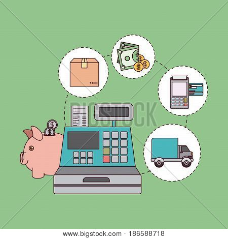 green color background with cash register with steps of buy payment and delivery vector illustration