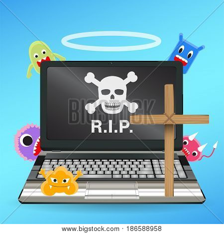 laptop computer dead by virus infected vector
