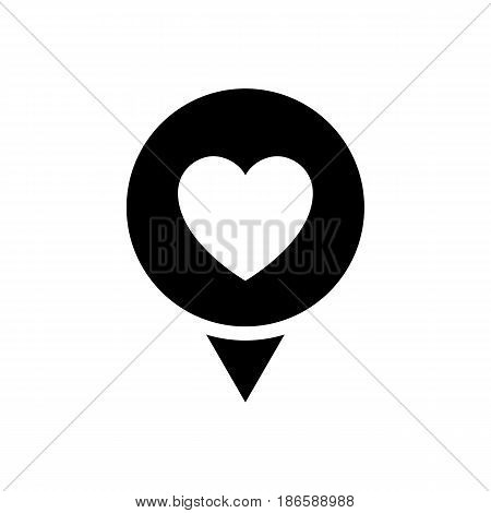 Location love. Black icon isolated on white background