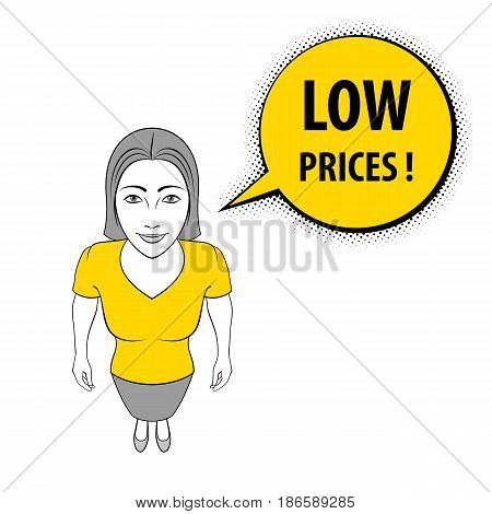 Cartoon Illustration of a Young Woman Giving a Thumbs Up. Low Prices