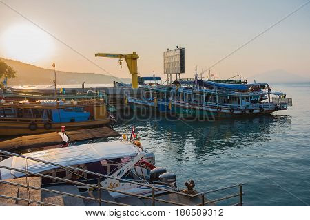 RAYONG,THAILAND - April 20,2017 - Boat transports tourists at samet island port.