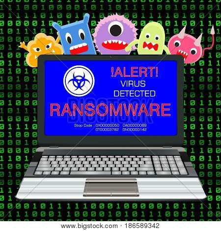 blue screen laptop infected ransomware virus with virus cartoon poster