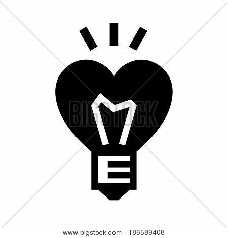 Bulb heart. Black icon isolated on white background