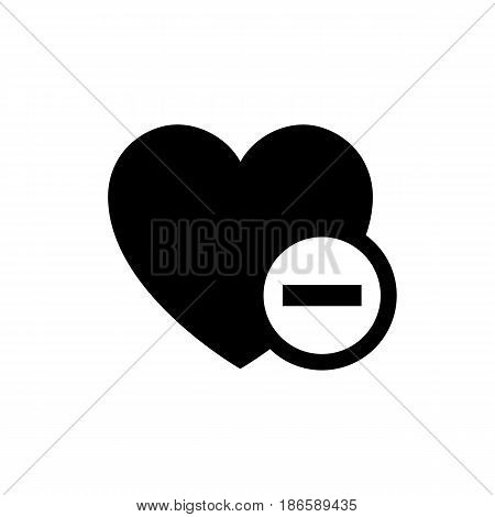 Heart minus. Black icon isolated on white background
