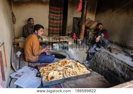 Leh India - April 26 2017 : Indian men in thier own shop baking