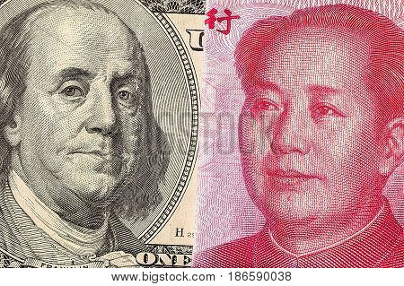 US dollar bill and China yuan banknote macro, Chinese and USA economy finance trade business, money closeup