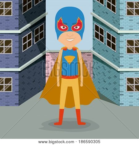 colorful background buildings brick facade with superhero man with costumes and complete mask vector illustration