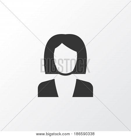 Job Woman Icon Symbol. Premium Quality Isolated Businesswoman Element In Trendy Style.