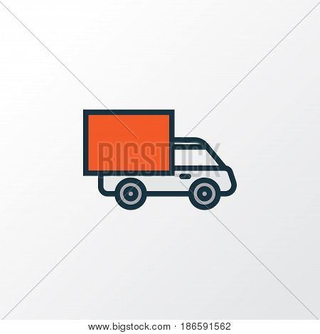 Track Colorful Outline Symbol. Premium Quality Isolated Van  Element In Trendy Style.