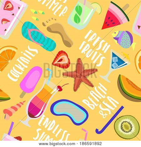 Vector seamless hand-drawn summer pattern of fruits cocktails beach and handwritten lettering on yellow background.