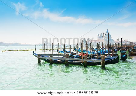 Gondolas On Grand Canal In Venice, Italy.