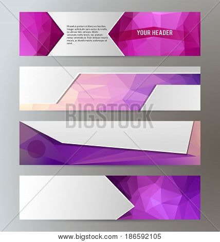 Horizontal Web Banner Triangle Mosaic Background Set Template06