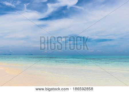 tropical beach with white cloud and sky in Thailandbeautiful seascape