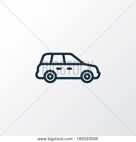 Crossover Outline Symbol. Premium Quality Isolated Car Element In Trendy Style.