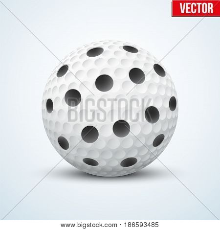 White Floorball ball for floor hockey. Sport equipment and object. Vector Illustration isolated on background.