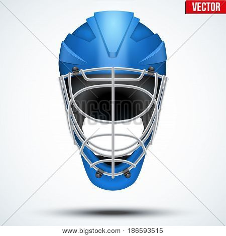 Floorball and Floor Hockey Helmet. Blue color. Sport Equipment. Editable Vector illustration isolated on white background.