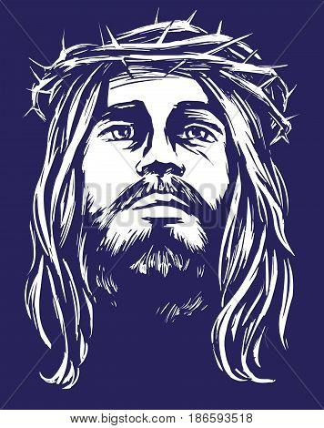 Jesus Christ, the Son of God in a crown of thorns on his head, a symbol of Christianity hand drawn vector illustration realistic sketch