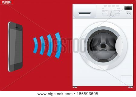 Illustration of Wireless Controlling washing machine with smartphone. IOT Concept and remote home appliance. Editable Vector illustration