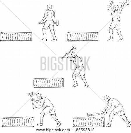 Collection set of illustrations of an athlete working out hitting tire with hammer viewed from the side done in drawing sketch style.