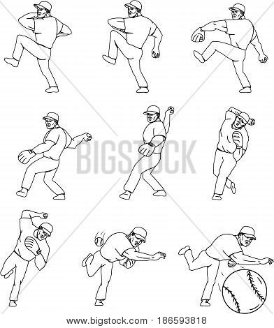 Collection set of illustrations of an american baseball player pitcher outfilelder in a throwing ball movement done in mono line style.
