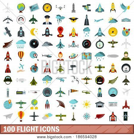 100 flight icons set in flat style for any design vector illustration