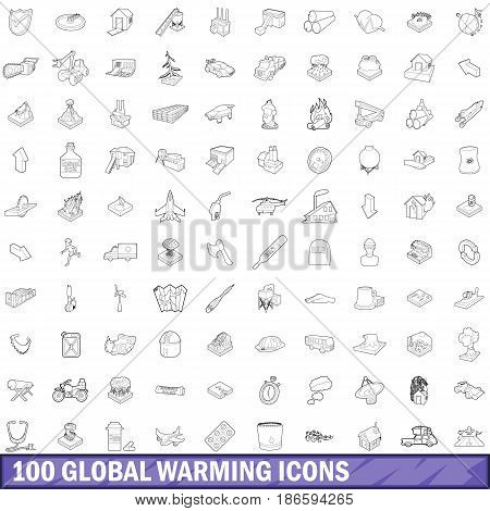 100 global warming icons set in outline style for any design vector illustration