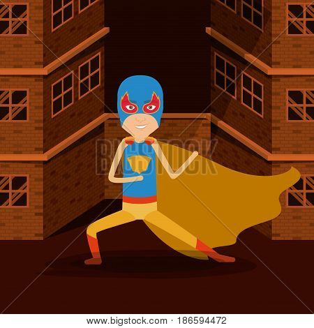 sepia color background buildings brick facade with superhero man with costumes and mask complete vector illustration