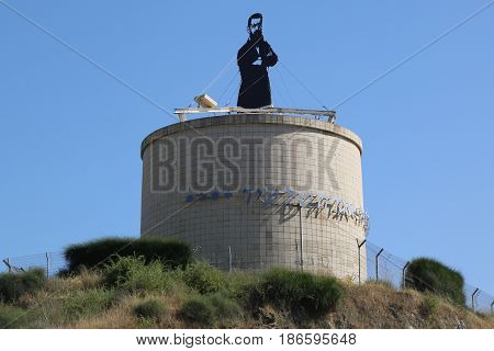HERZLIYA, ISRAEL - APRIL 28, 2017: Theodor Herzl statue at Herzliya, Israel. Theodor Herzl  was a founder of the political form of Zionism, a movement to establish a Jewish homeland.