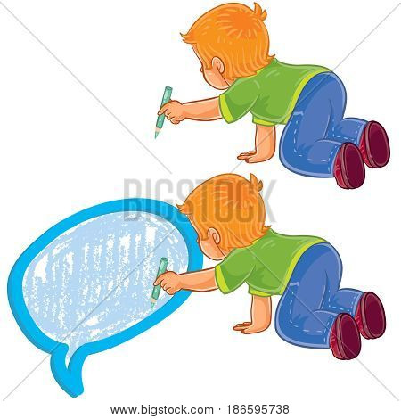 Vector illustration, icon of small boy sitting on the floor and draw a speech bubble
