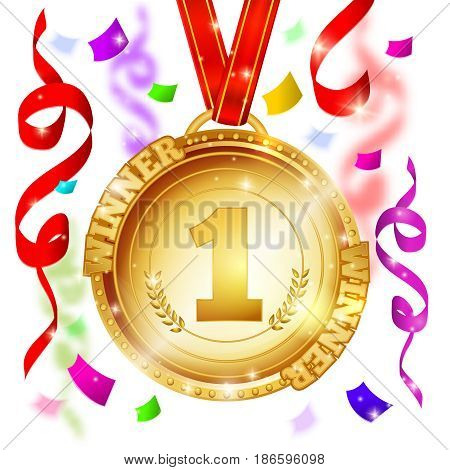Medal of winner design with gold award on red ribbon and streamers on blurred background vector illustration