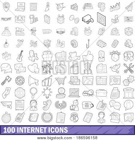 100 internet icons set in outline style for any design vector illustration