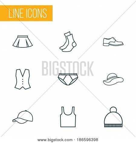 Garment Outline Icons Set. Collection Of Waistcoat, Pompom, Panama And Other Elements. Also Includes Symbols Such As Summer, Cap, Footwear.