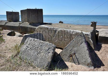 Fortifications ruins of the Baltic Sea coast Latvia