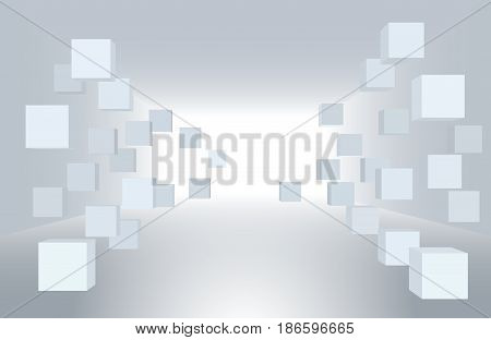 3d vector illustration. White interior of not existing building with flying cubes in perspective. The subject of delivery data transmission relocation.